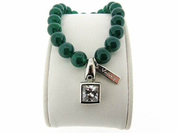 Armband met Groene Agaat edelstenen en zilver bedeltje