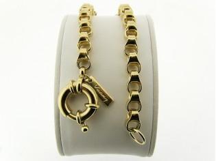 Gouden armband met grote jasseron schakel met dubbel oog en grote veersluiting
