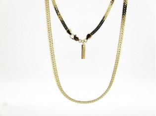 Gouden halsketting gourmet collier met dunne gevlochten schakels
