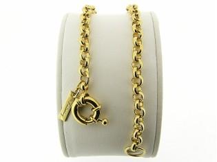 Gouden armband met grote Jasseron ringen en grote veersluiting