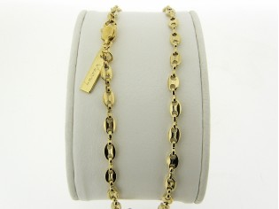 Gouden halsketting ankerketting collier met trendy koffieboon model