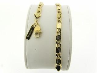Gouden armband met platte hoogglanzende koning schakel
