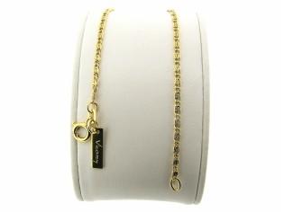 Gouden armbandje met platte mini koning schakeltjes