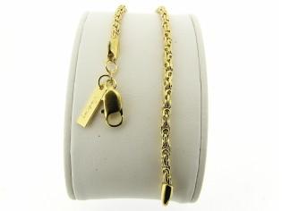 Gouden armbandje met gevlochten koning schakel open gewerkt model