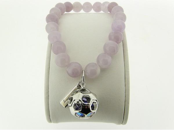 Armband met Amethist edelstenen en zilveren voetbal bedeltje