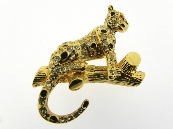 Klassieke broche goudenpanter met Swarovski kristallen ingelegd