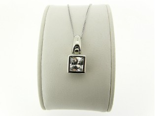 Zilveren Pendant collier met hangertje zirconia steen in sterling zilveren zetting
