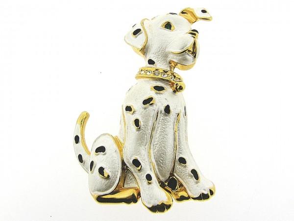 Broche met vrolijkegeëmailleerde Dalmatier en met swarovski kristallen ingelegd