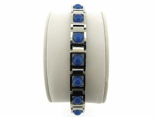 Stalen stoere armband voorzien vanblauweagaat edelstenen