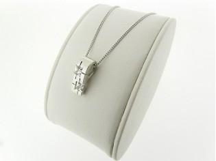 Zilveren Pendant collier met hangertje zirconia steentjes in sterling zilveren zetting