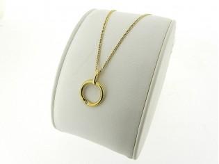 Gouden ketting met hangertje ring en zirconia