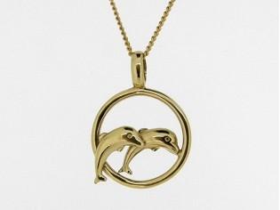 Gouden ketting met hangertje dolfijntjes