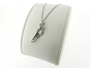 Zilveren Pendant collier met hangertje trompet