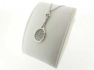 Zilveren Pendant collier met hangertje tennisracket