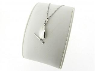 Zilveren Pendant collier met hangertje surfplank