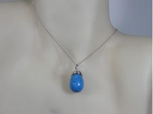 Zilveren Pendant collier met Turkoois edelsteen druppel