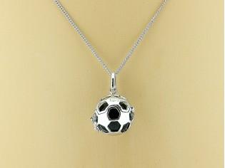 Zilveren Pendant collier met hangertje voetbal