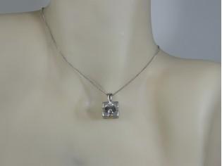 Zilveren Pendant collier met hangertje zirconia steen in gematteerd sterling zilveren zetting
