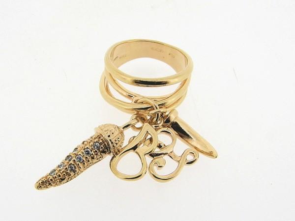 Zilveren ring, Liu Jo accessoire met bedeltjes en gouden toplaag