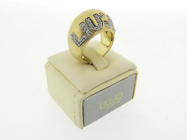 Zilveren ring, Liu Jo accessoire met en zirconia steentjes 925/1000 Sterling zilver met gematteerd gouden toplaag.