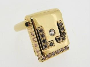 Zilveren ring Liu Jo accessoire met en zirconia steentjes 925/1000 Sterling zilver met gouden toplaag.