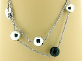 Zilveren modieus Liu Jo collier met onyx edelsteen