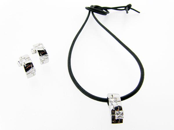 Sieradenset koordcollier met met zilveren hangertje en oorhangers met zirkonia inleg