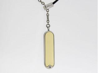 Makuti edelstaal collier met diamant en goud hangertje