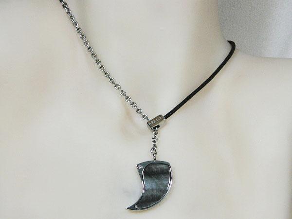 Edelstaal ketting met diamant en Makuti parelmoer hangertje