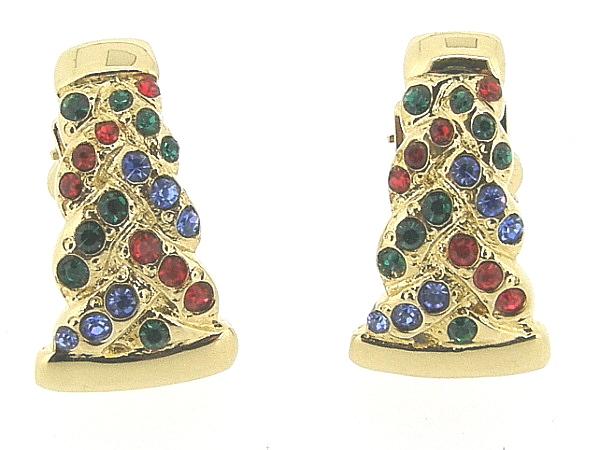 Gouden vintage oorclip met ingelegd gekleurde kristallen,