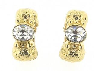 Gouden vintage oorclips met grote ingelegde heldere kristallen