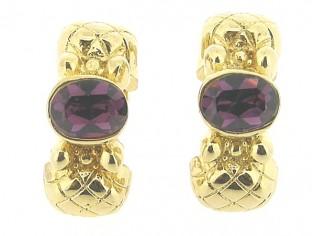 Gouden vintage oorclips met grote ingelegde Amethist kristallen
