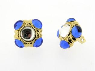 Gouden vintage oorbellen met saffier kristallen cabuchon geslepen
