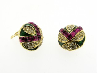 Gouden vintage oorclip met ingelegde lavendel markies geslepen kristallen