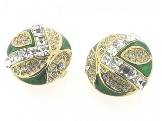Gouden vintage oorbellen met ingelegd heldere kristallen Markies geslepen