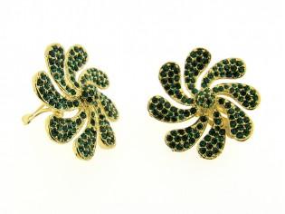 Gouden vintage bloem oorclip met Smaragd kristallen ingelegd
