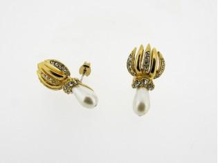 Gouden chique parel druppel oorbellen