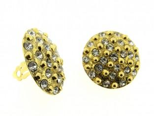 Gouden vintage oorclip met ingelegde heldere kristallen